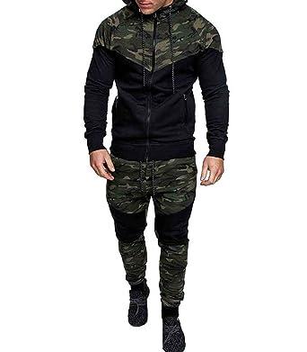 4981a82b15656 Men's Tracksuit Set Camouflage Sweatshirt Jogger Sweatpants Warm Sports  Suit (Green, ...