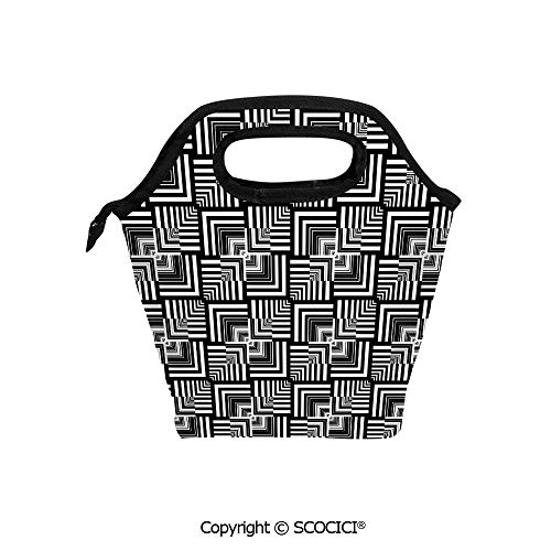 Insulation portable lunch box bag Geometric Op Art Pattern Unusual Checked Optical Illusion Effect Modern Decorative Soft Fabric lunch bag Mummy bag.