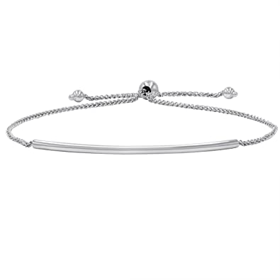 Amazon Com Amanda Rose Bar Bolo Bracelet In 14k White Gold
