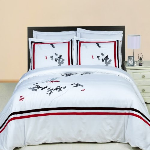 LUXURIOUS Florence Embroidered 4 Piece (4PC) Full Size COMFORTER SET 100% Egyptian Cotton Ultra Soft Single Ply 300 Thread Count. Includes Super Soft All Season White Down Alternative Comforter
