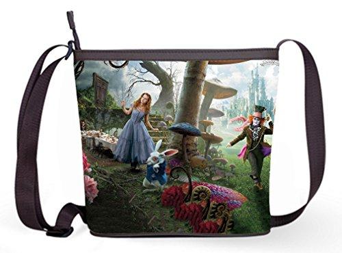 Ladies Sling Cross Body Shoulder Bags with Alice In Wonderland Scenes Print.