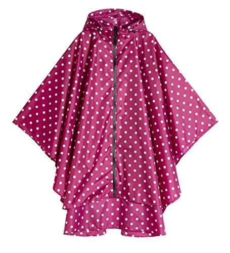 (Womens Rain Poncho Polyester Waterproof Raincoat with Hood Zipper Outdoor Hiking Biking (red White Polka dots))