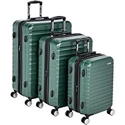 "AmazonBasics Premium Hardside Spinner Luggage with Built-In TSA Lock - 3-Piece Set (20"", 24"", 28""), Green"