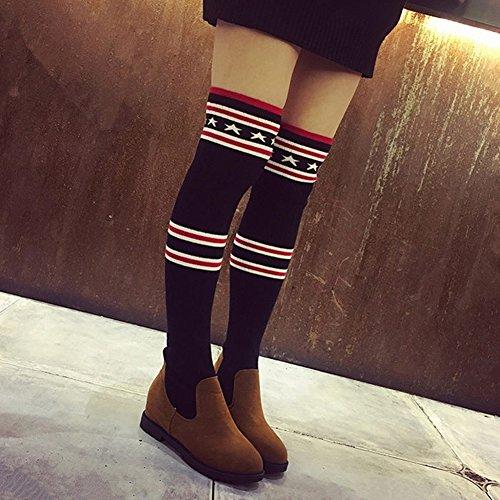 Botas Botas Botas Zapatos Planos Mangas Zapatos de Moda Zapatos de Estudiante Botas de Lana Botas Altas , negro , EUR35