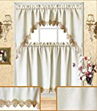 Fancy Kitchen Window Curtains Fancy Collection 3pc Solid Beige Embroidery Kitchen/cafe Curtain Tier and Swag Set 00601 (Beige)