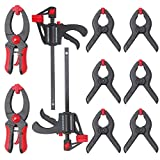 Hi-Spec 10 Piece Mini Quick Clamp Set Including 2 x Bar Clamps with Spreader, 2x Quick Releasing Ratchet Clamps & 6 x Spring Clamps