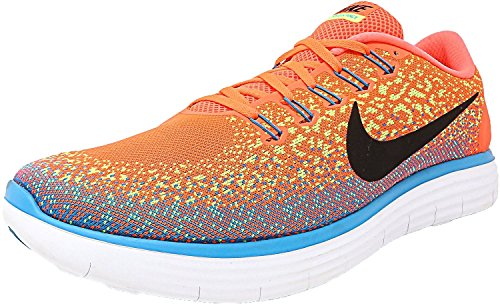 Nike Mens Free RN Distance Hyper Orange/Black-Volt-Blue Lagoon Ankle-High Fabric Running Shoe - 11M 0naj7ImJ