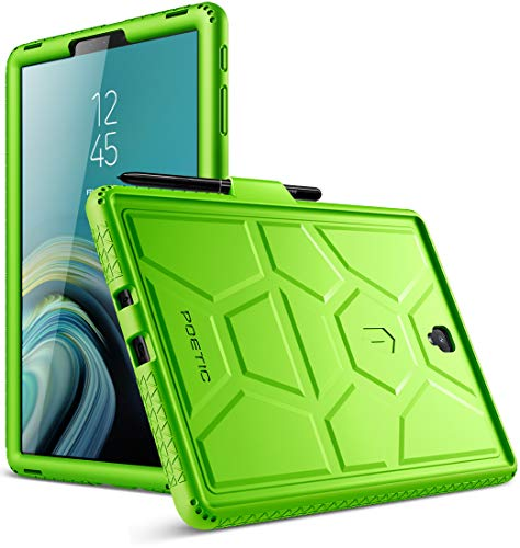 Galaxy Tab S4 10.5 Case, Poetic TurtleSkin Series [Corner/Bumper Protection][Grip][Bottom Air Vents] Protective Silicone Case for Samsung Galaxy Tab S4 10.5 Inch (2018) - Green
