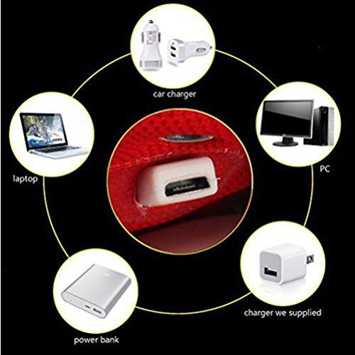 [Present:kleines Handtuch]JUNGLEST Unisex 7 Farbe Farbwechsel USB Aufladen LED Leuchtend Sport Schwarz