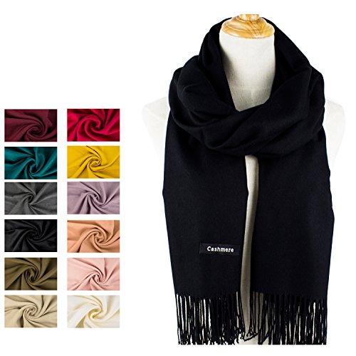 Choomon Women Soft Cashmere Scarf Shawls Wool Wraps Stole / Gift Box (15 Colors) (Black)