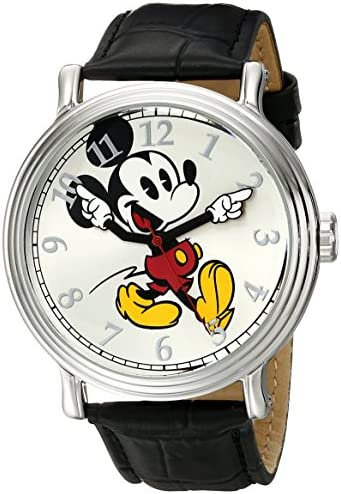 Disney Men s W001868 Mickey Mouse Silver-Tone Watch with Black Band