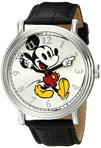 Disney Men's W001868 Mickey Mouse Silver-Tone Watch with Black Band by Disney