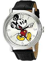Men's W001868 Mickey Mouse Silver-Tone Watch with Black Band