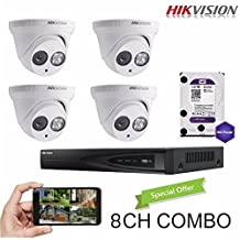 Hikvision 8CH Combo: 4 x 4MP High Defination IP Cameras(DS-2CD2342WD-I) Security System, 8 Channel NVR (DS-7608NI-E2/8P) With 2TB WD Purple HDD Installed, Built-in PoE Plug and Play, Hikvision Camera and NVR US English Version [Ships from Canada]