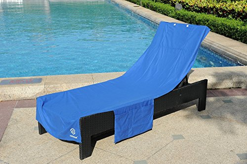 Freemen Perfect Chaise Lounge Towel Cover with Storage Pockets (Blue) by Freemen