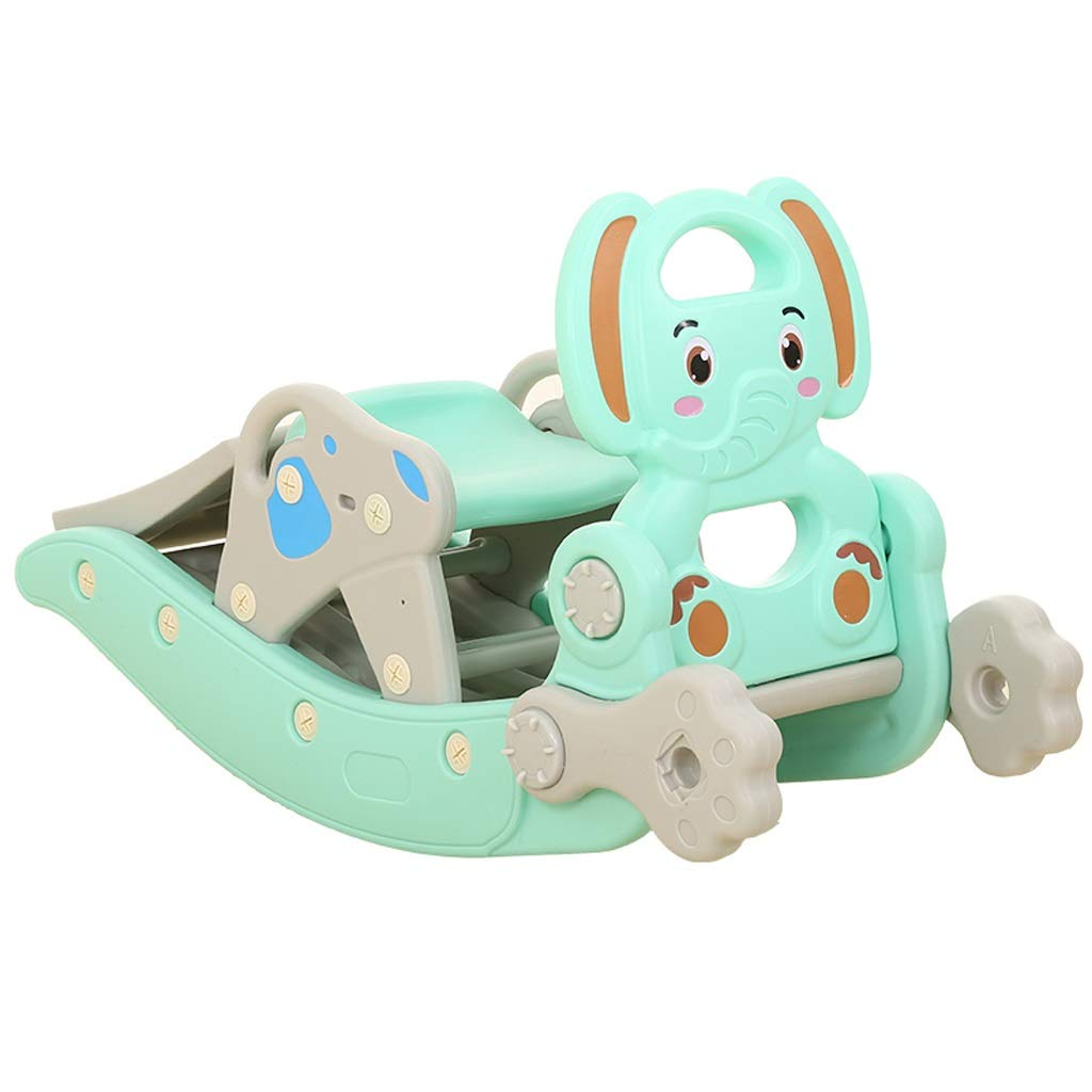 Freestanding Slides Slide Children's Rocking Horse Combination Baby Age Gift 1-6 Years Old Rocking Chair Trojan Multi-Function Rocking Horse Slide Toy Baby Playground