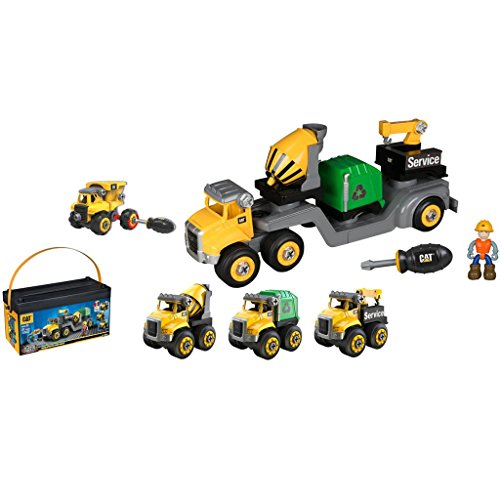 CAT Machine Maker Junior Operator Combo Hauler 4 in1 Easy Take-A-Part Play Build Combo Hauler, Service Truck, Cement Mixer or Recycle (Parts Cat)