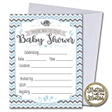 Blue Elephant Baby Shower Invitations with Envelopes 25 Pack | Blue Grey Chevron | Fill in Style | Baby Boy