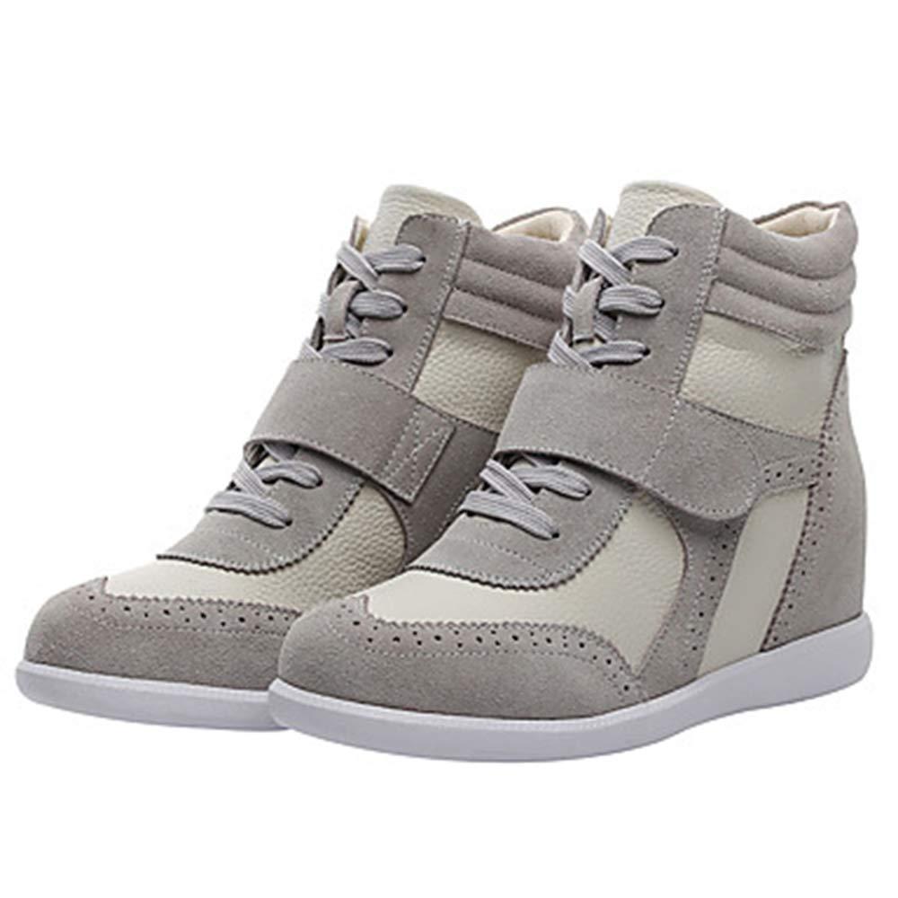 TTSHOES Per Donna Scarpe Pelle Autunno/Inverno Comoda/Stivali Sneakers Zeppa Punta Tonda Marrone/Rosa E Bianco/White / Blue,Beige,US6/EU36/UK4/CN36  -