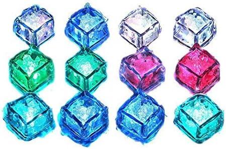 Gearmax® Wassertauch Dekorative LED Ice Cubes Quick Flashing LED Eiswürfel Schnelle Blinkenden Dekorative Multicolor Würfel - Set von 12