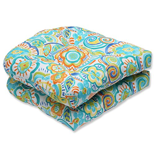 Pillow Perfect Outdoor Bronwood Caribbean Wicker Seat Cushion, Multicolored, Set of 2