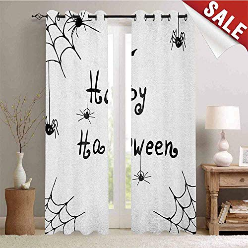 Spider Web Waterproof Window Curtain Happy Halloween Celebration Monochrome Hand Drawn Style Creepy Doodle Artwork Decorative Curtains for Living Room W96 x L108 Inch Black White ()