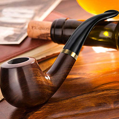 Scotte Tobacco pipe Handmade Ebony Wood root Smoking Pipe Gift Box and Accessories ()