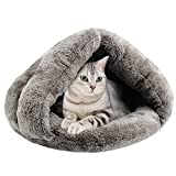 Cheap iBaste Faux Fur Pet Cave for Small Dog Cat Slip Style Bed Indoor for Puppy Dogs