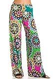 Junky Closet Women's Casual Bohemian Wide Leg Palazzo Pants (1X-Large, Y264HY Apple Green)