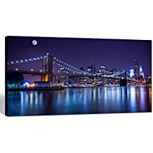 "Sea Charm- Brooklyn Bridge Canvas Wall Art,Large Size 24""x48"" Modern New York City Canvas Print,Manhattan Skyline Illuminated with Full Moon Giclee Wall Art,Framed and Ready to Hang"