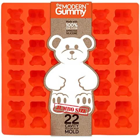 JUMBO size GUMMY BEAR Mold by the Modern Gummy + Recipe PDF, PROFESSIONAL GRADE PURE LFGB SILICONE, 22 cavity, Candy, Soap Molds, Jello Shots, Cupcake topper, Chocolate Making, Ice tray (1)