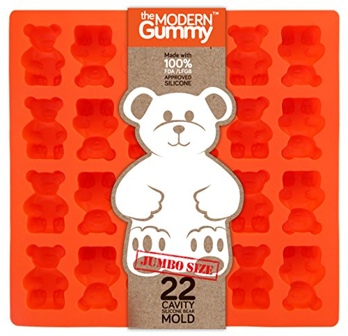 Candy Soap Mold - JUMBO size GUMMY BEAR Mold by the Modern Gummy + email Recipe PDF, PROFESSIONAL GRADE PURE LFGB SILICONE, 24 cavity, Candy, Soap Molds, Gelatin Shots, Cupcake topper, Chocolate, Ice tray