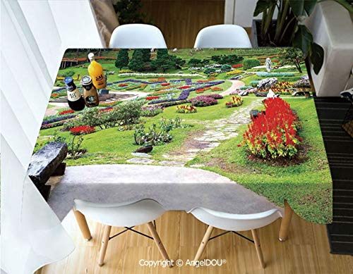 AngelDOU Waterproof Stain Resistant Lightweight Table Cover Bromeliad at Mae Fah Luang Garden Lawn Flowerbeds Evergreens Wooden Seat for Camping Picnic Rectangular Table -