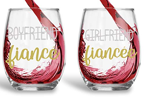 Boyfriend/Fiance - Girlfriend/Fiancee - Funny 15oz Crystal Wine Glass - Stemless Wine Glass Couples Sets - Perfect idea for Bridal and Engagement Gifts