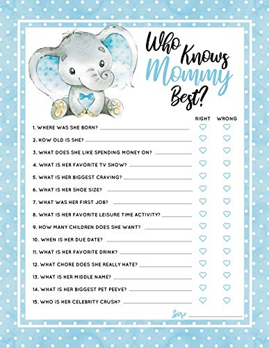 30 Blue Elephant Who Knows Mommy Best Baby Shower Game and Activity Easy to Play- Gender Reveal New Parent Women Men or -