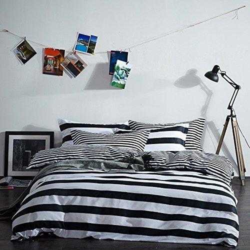 YOUSA Black and White Striped Bedding Sets Cotton Bedding Co