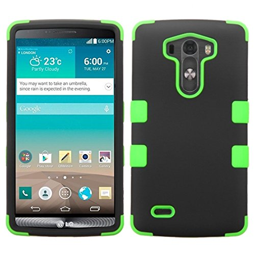 (Asmyna Rubberized TUFF Hybrid Phone Protector Cover for LG G3 - Retail Packaging - Black/Electric Green)