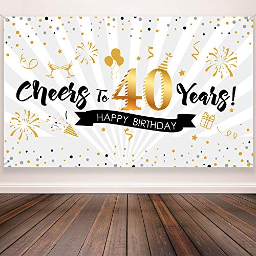 Decorations For 40th Birthday (40th Birthday Party Decoration, Extra Large Fabric Black Gold Sign Poster for 40th Anniversary Photo Booth Backdrop Background Banner, 40th Birthday Party Supplies, 72.8 x 43.3 Inch (Style)