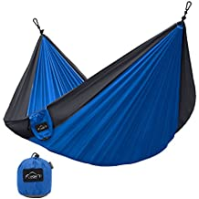 Hammock for Camping - Single & Double Hammock by YAKOUTFITTERS - Portable Gear for The Outdoors Backpacking Survival, Travel, Indoors Sleeping - Best Quality Strong Parachute Nylon Hammocks