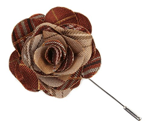 (The Tie Bar 70% Wool/30% Silk Marshall Plaid Burnt Orange Lapel Flowers)