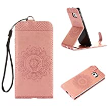 MOONCASE Galaxy S6 Edge Leather Case, Totem Embossed PU Flip Stand Case Cover for Samsung Galaxy S6 Edge Rose Gold