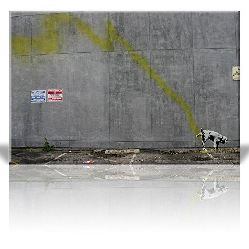 Print Dog Peeing on Wall Street Art Guerilla Banksy Street Artwork