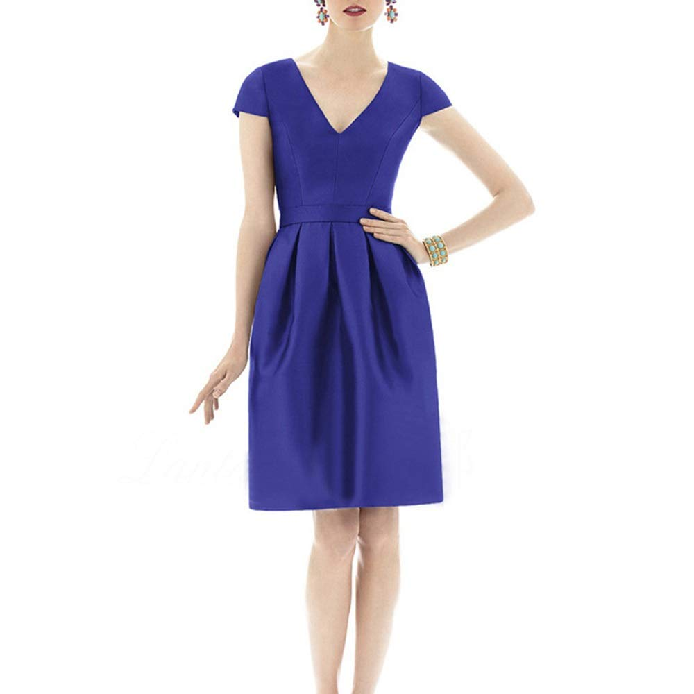 Royal bule Sugoishop Women Summer Slim VNeck Short Sleeves Evening Dress Casual Dress (color   bluee, Size   S)