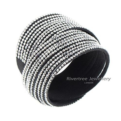 Rhinestone Strand Bracelet (RIVERTREE Slake Style Crystal encrusted Multi strands Layered Rhinestone Wrap Bracelet Black)