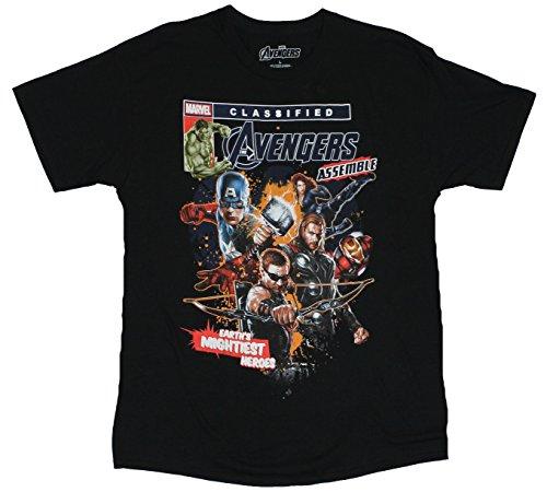 The Avengers (Marvel Comics) Mens T-Shirt - Classfied Comic Stye Movie Hero Pic (Large) Black