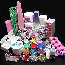 21 in 1 Pro Nail Art Decorations Uv Gel Kit Brush Buffer Tool Nail Tips Glue Colorful Acrylic Powder Glitter 4 way Buffer Block Sanding Files Set Tools #189 by RY