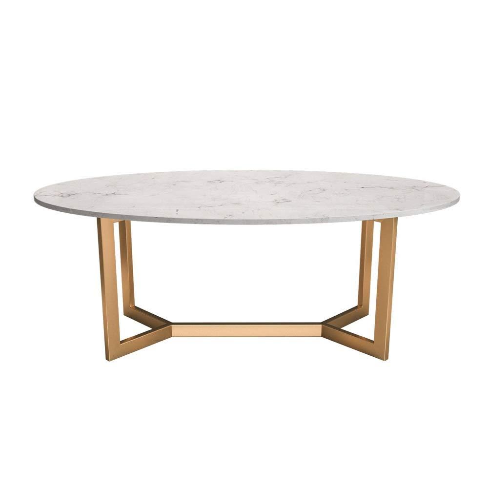 居間のコーヒーテーブル、楕円形の白い大理石のテーブルトップ、鉄のフレーム高温ベーキングニス、家庭用ソファのコーヒーテーブル小アパートメント、サイズ:80cm、100cm B07T29Z4N5  80 × 40 × 45 cm