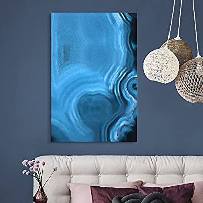 Canvas Wall Art - Blue Agate Pattern - Giclee Print Gallery Wrap Modern Home Art Ready to Hang - 24x36 inches
