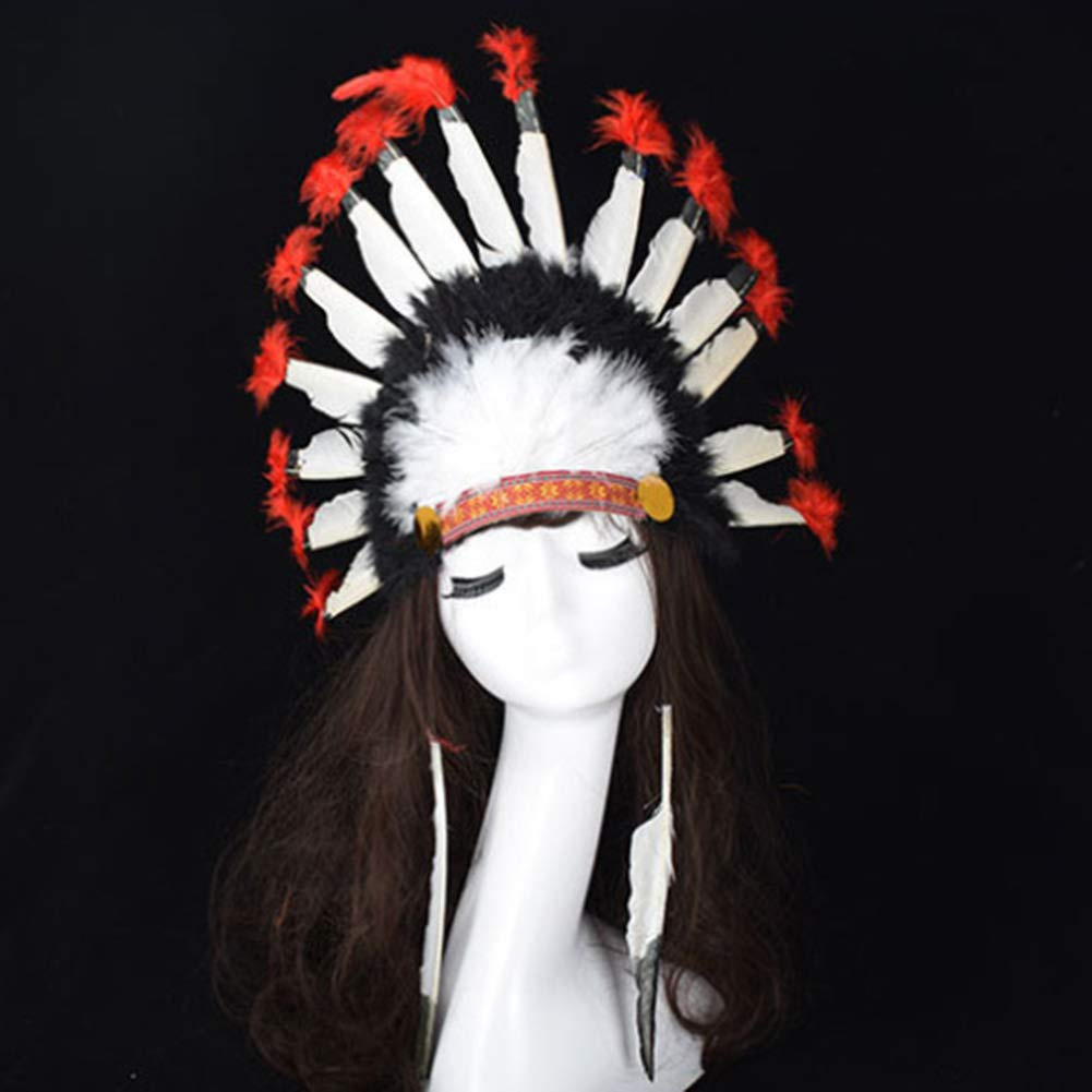 Wall of Dragon Hot Halloween Carnival Day Colorful Party Hats Headband Indian Style Headwear Villus Chiefs Cap Party Headdress