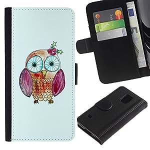 Paccase / Billetera de Cuero Caso del tirón Titular de la tarjeta Carcasa Funda para - Kid Drawing Cute Eyes Teacher School - Samsung Galaxy S5 V SM-G900